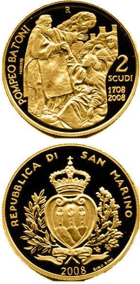 Image of 2 scudi coin – 300th Anniversary of the Birth of Pompeo Batoni  | San Marino 2008.  The Gold coin is of Proof quality.