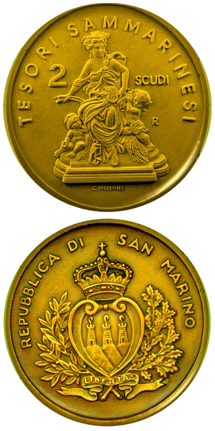 Image of 2 scudi coin – Treasures of San Marino  | San Marino 2009.  The Gold coin is of Proof quality.