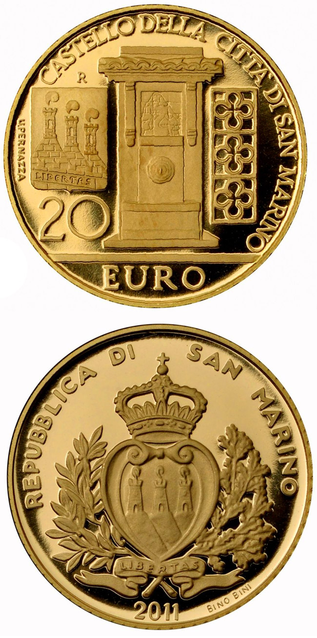 Image of 20 euro coin – Architectural Elements | San Marino 2011.  The Gold coin is of Proof quality.