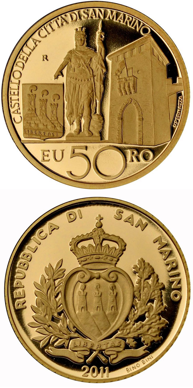 Image of 50 euro coin – Architectural Elements | San Marino 2011.  The Gold coin is of Proof quality.