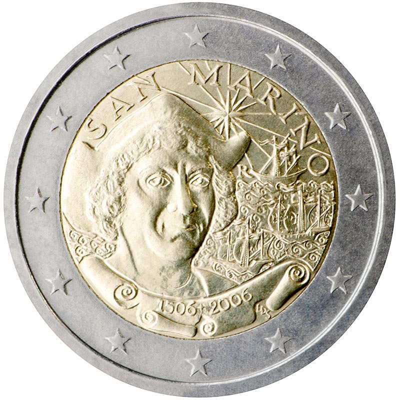 Image of 2 euro coin - 500th Anniversary of the Death of Christopher Columbus | San Marino 2006