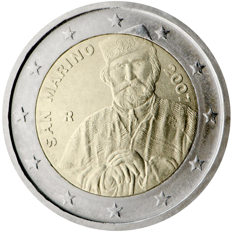 Image of 2 euro coin - 200th Birthday of Giuseppe Garibaldi | San Marino 2007