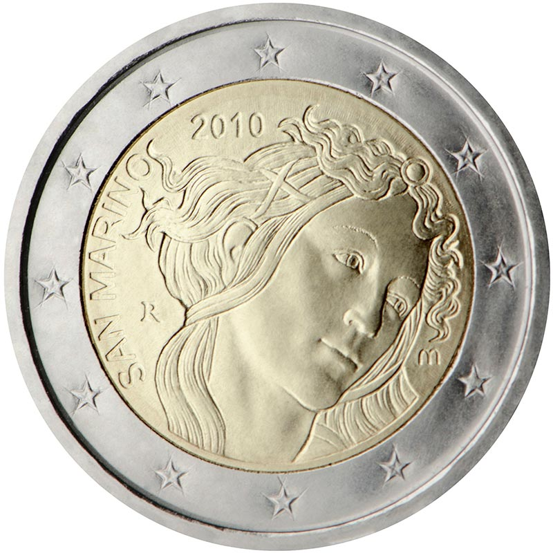 Image of 2 euro coin – 500th Anniversary of the death of Sandro Botticelli | San Marino 2010