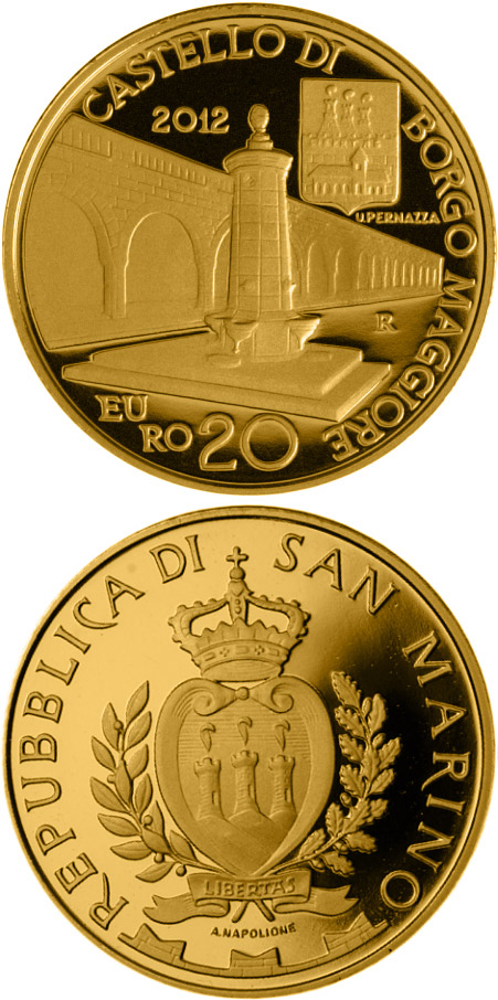 Image of 20 euro coin – Architectural Elements | San Marino 2012.  The Gold coin is of Proof quality.