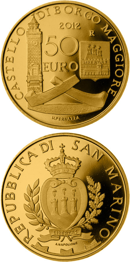 Image of Architectural Elements – 50 euro coin San Marino 2012.  The Gold coin is of Proof quality.