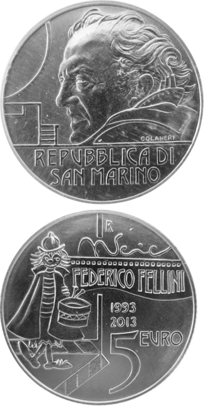 5 euro 20th Anniversary of the Death of Federico Fellini - 2013 - Series: Silver 5 euro coins - San Marino
