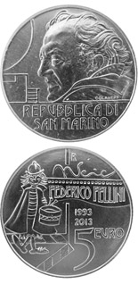 5 euro coin 20th Anniversary of the Death of Federico Fellini | San Marino 2013
