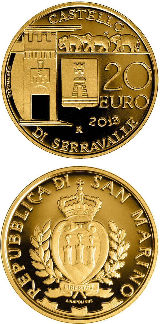 Image of Architectural Elements: Castle of Serravalle – 20 euro coin San Marino 2013.  The Gold coin is of Proof quality.