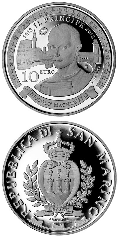 Image of a coin 10 euro | San Marino | 500th Anniversary of Il Principe (De Principatibus) by Niccolò Machiavelli | 2013