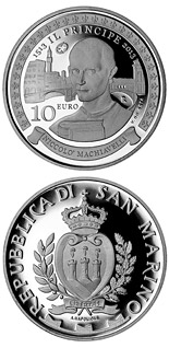 10 euro coin 500th Anniversary of Il Principe (De Principatibus) by Niccolò Machiavelli | San Marino 2013