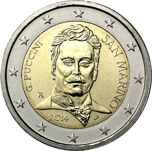 Image of 2 euro coin – 90th Anniversary of the Death of Giacomo Puccini | San Marino 2014