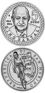 5 euro 100th anniversary of the birth of Gino Bartali - 2014 - Series: Silver 5 euro coins - San Marino