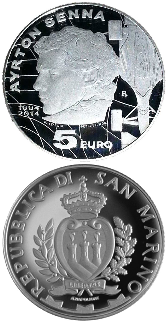 Image of 5 euro coin – 20th anniversary of the death of Ayrton Senna | San Marino 2014.  The Silver coin is of Proof quality.