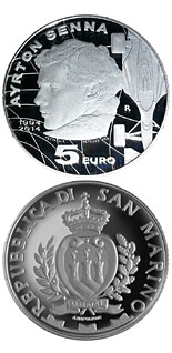 5 euro 20th anniversary of the death of Ayrton Senna - 2014 - Series: Proof silver 5 euro coins - San Marino