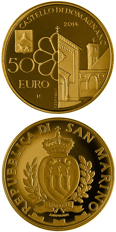Image of 50 euro coin Architectural elements of San Marino: Castles of Acquaviva and Domagnano | San Marino 2014.  The Gold coin is of Proof quality.