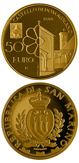 50 euro coin Architectural elements of San Marino: Castles of Acquaviva and Domagnano | San Marino 2014