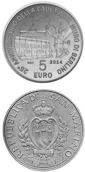Image of 25th Anniversary of the Fall of the Berlin Wall – 5 euro coin San Marino 2014.  The Silver coin is of BU quality.