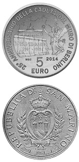 5 euro coin 25th Anniversary of the Fall of the Berlin Wall | San Marino 2014