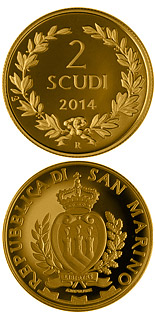 2 scudi coin 150th Anniversary of the First Issue Coin of the Republic of San Marino | San Marino 2014
