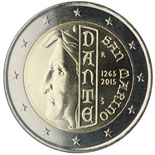 2 euro coin 750th Anniversary of the Birth of Dante Alighieri | San Marino 2015
