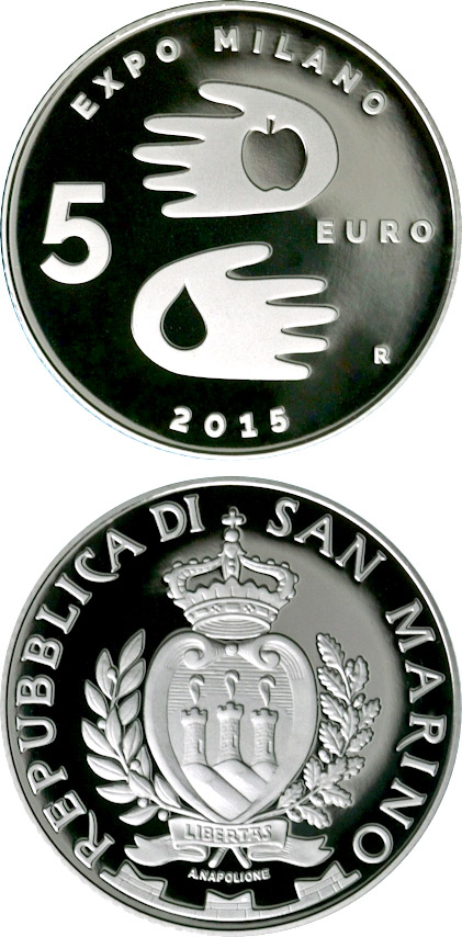 Image of 5 euro coin – EXPO Milano 2015 | San Marino 2015.  The Silver coin is of Proof quality.