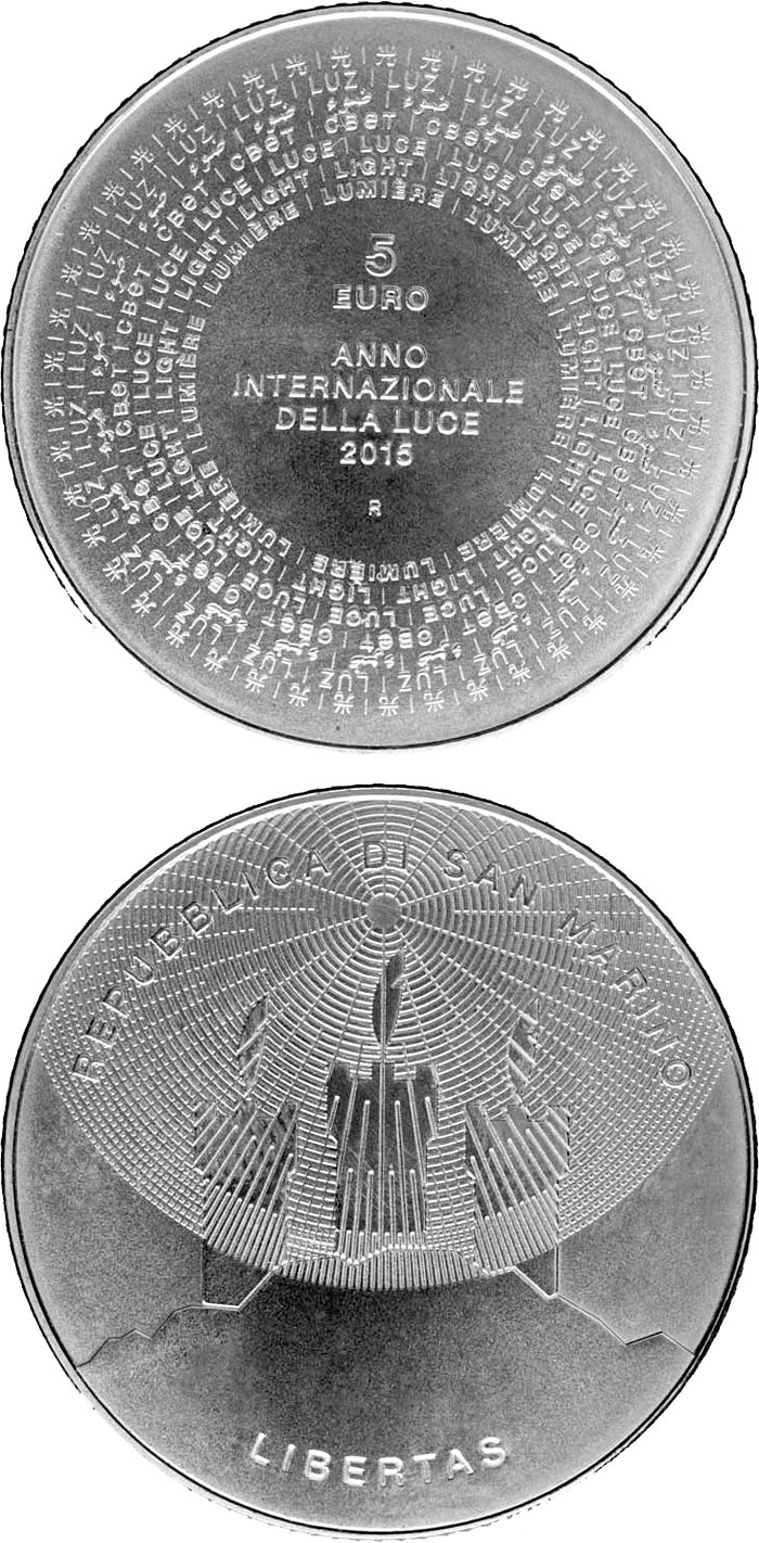 Image of 5 euro coin International Year of Light | San Marino 2015.  The Silver coin is of BU quality.