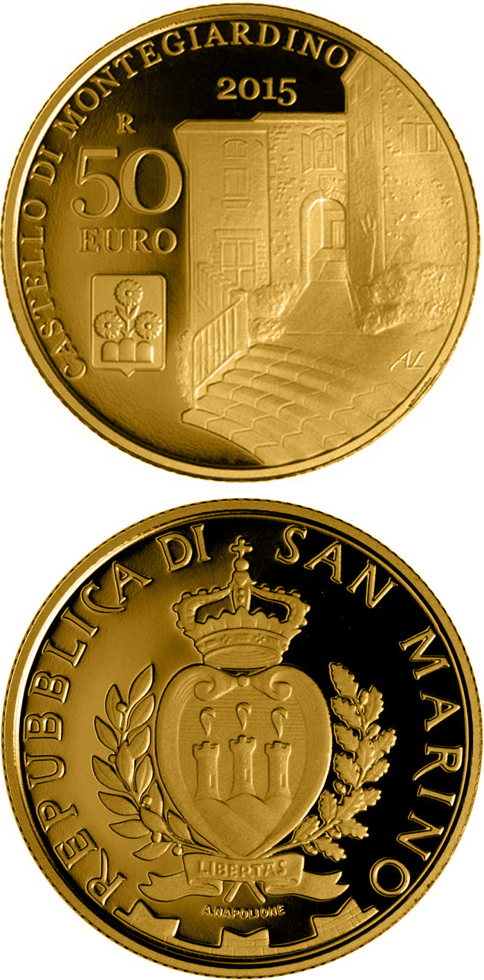 Image of 50 euro coin – Castles of Faetano and Montegiardino | San Marino 2015.  The Gold coin is of Proof quality.