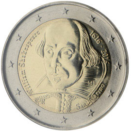 Image of 2 euro coin - 400th Anniversary of the Death of William Shakespeare | San Marino 2016