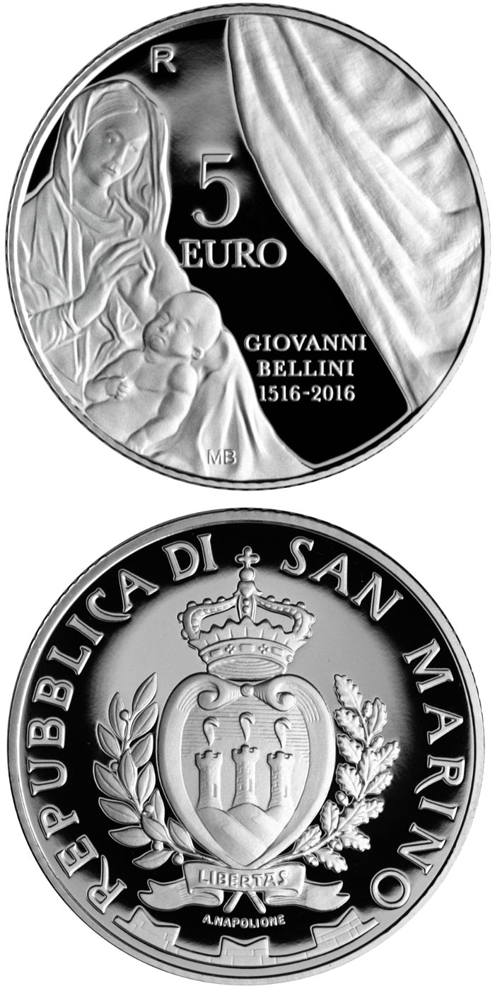 Image of 5 euro coin - 500th Anniversary of the Death of Giovanni Bellini | San Marino 2016.  The Silver coin is of Proof quality.