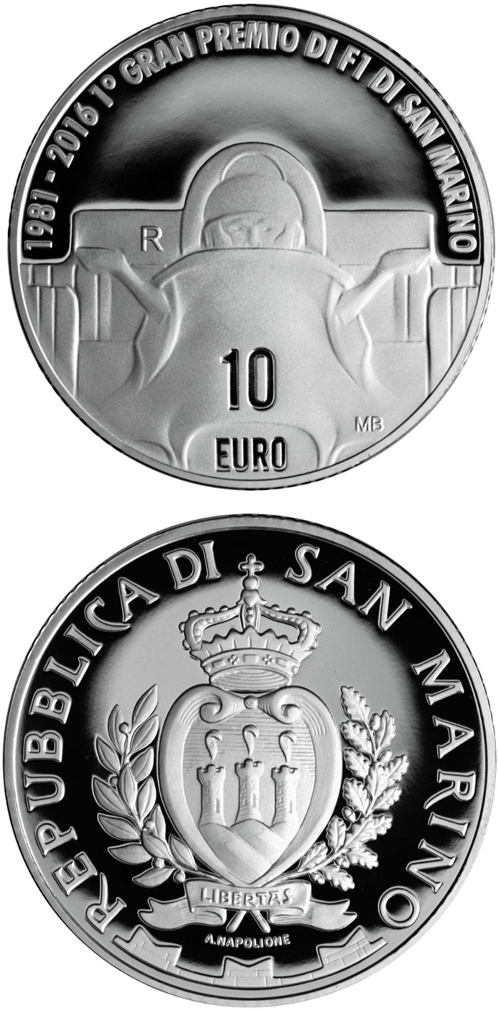 Image of 10 euro coin - 35th Anniversary of the F1 World Championship at the Imola circuit | San Marino 2016.  The Silver coin is of Proof quality.