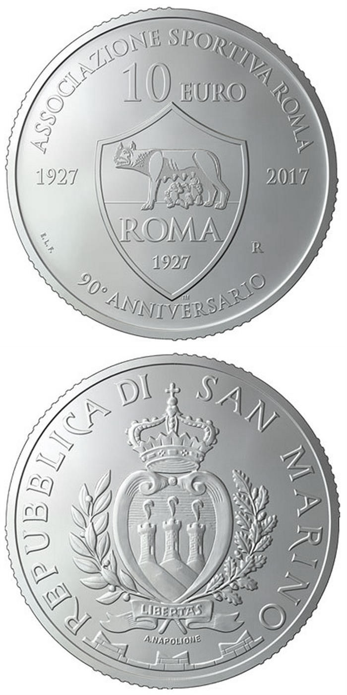 Image of 10 euro coin - 90th anniversary of the foundation of AS Roma | San Marino 2017.  The Silver coin is of Proof quality.