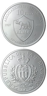 10 euro coin 90th anniversary of the foundation of AS Roma | San Marino 2017