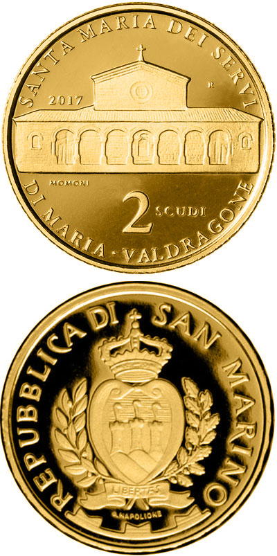 Image of 2 scudi coin - Architecture in San Marino: St Mary's Church of the Order Servants of Mary in Valdragone | San Marino 2017.  The Gold coin is of Proof quality.
