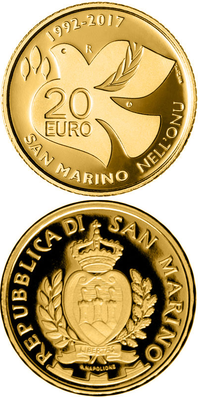 Image of 20 euro coin - 25th Anniversary of the Entry of San Marino in Uno | San Marino 2017.  The Gold coin is of Proof quality.
