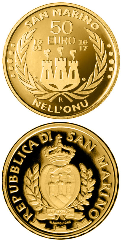 Image of 50 euro coin - 25th Anniversary of the Entry of San Marino in Uno | San Marino 2017.  The Gold coin is of Proof quality.