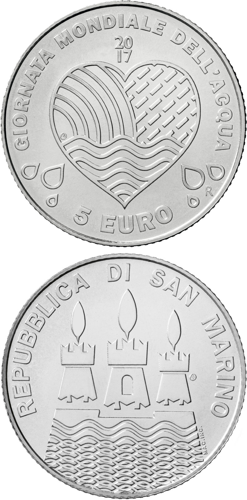 Image of 5 euro coin - World Water Day | San Marino 2017.  The Silver coin is of BU quality.