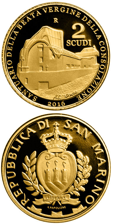 Image of 2 scudi coin - Architecture in San Marino: Sanctuary of Our Lady of Consolation by G. Michelucci | San Marino 2016.  The Gold coin is of Proof quality.