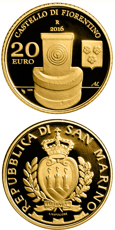 Image of 20 euro coin - Architectural Elements of San Marino: Castles of Fiorentino and Chiesanuova | San Marino 2016.  The Gold coin is of Proof quality.