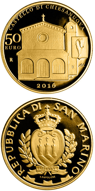 Image of 50 euro coin - Architectural Elements of San Marino: Castles of Fiorentino and Chiesanuova | San Marino 2016.  The Gold coin is of Proof quality.