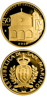 50 euro coin Architectural Elements of San Marino: Castles of Fiorentino and Chiesanuova | San Marino 2016
