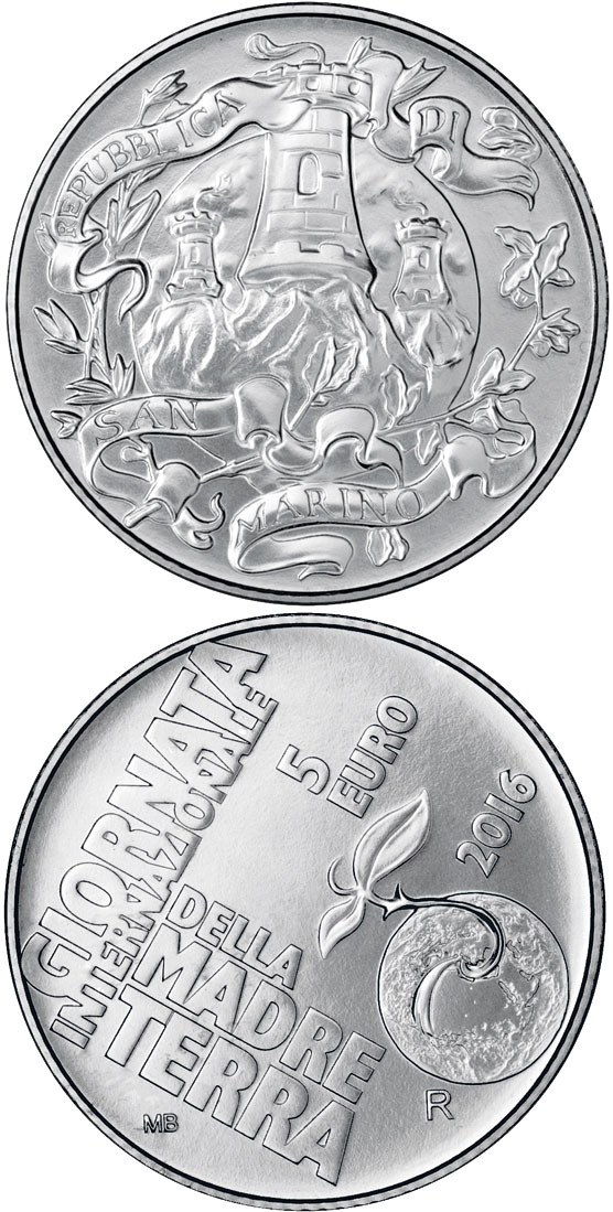 5 euro International Year of Mother Earth - 2016 - Series: Proof silver 5 euro coins - San Marino
