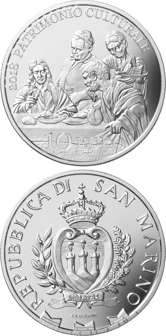 Image of 10 euro coin - European Year of Cultural Heritage | San Marino 2018.  The Silver coin is of Proof quality.