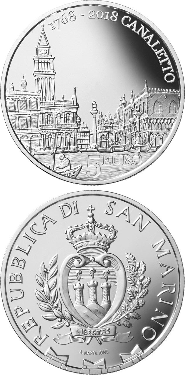 Image of 5 euro coin – 250th Anniversary of the Death of Canaletto | San Marino 2018.  The Silver coin is of Proof quality.