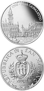 5 euro coin 250th Anniversary of the Death of Canaletto | San Marino 2018