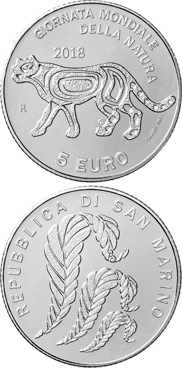 Image of 5 euro coin – World Nature Day | San Marino 2018.  The Silver coin is of BU quality.