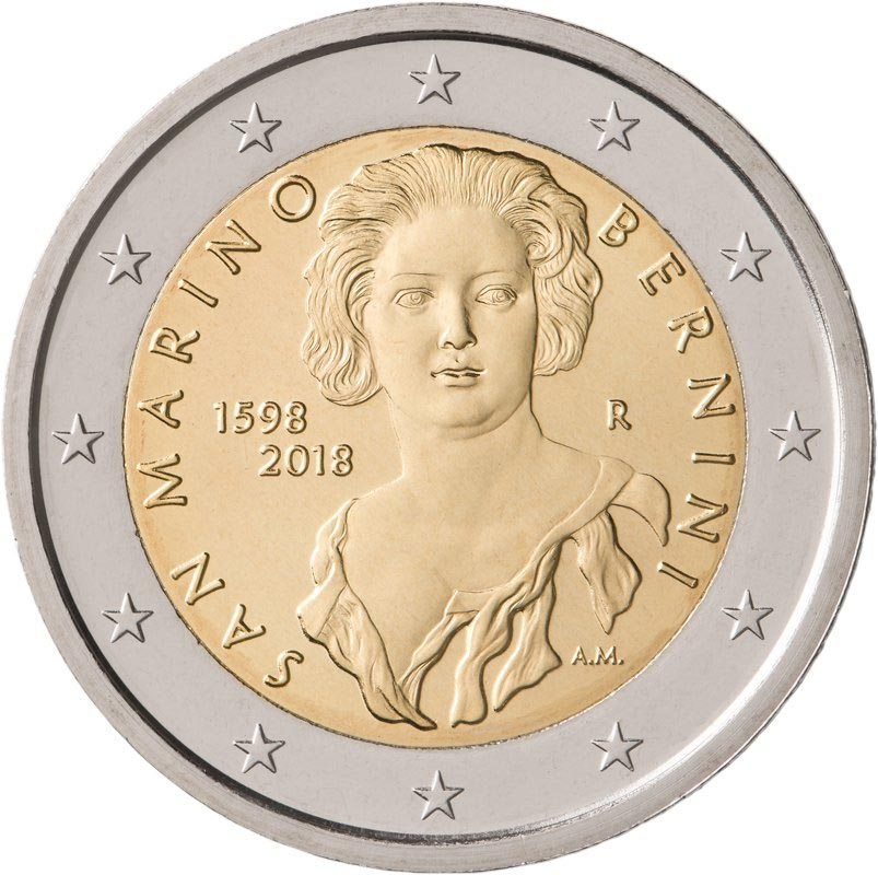 Image of 2 euro coin – 420th Anniversary of the Birth of Gian Lorenzo Bernini | San Marino 2018