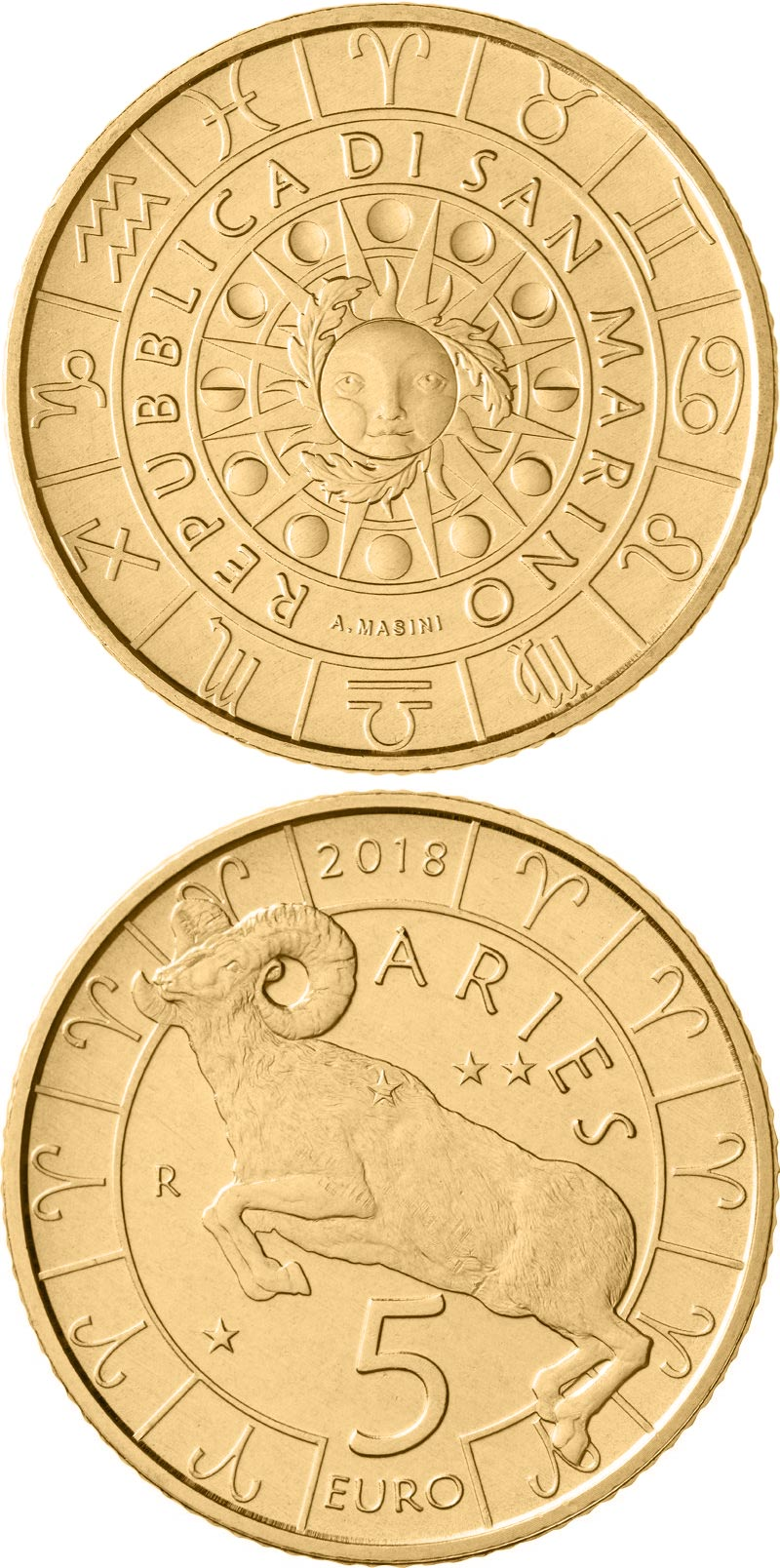 Image of 5 euro coin – Aries | San Marino 2018.  The Bronze coin is of UNC quality.