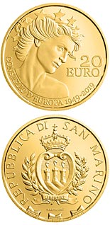 20 euro coin 70th anniversary of the European Council | San Marino 2019