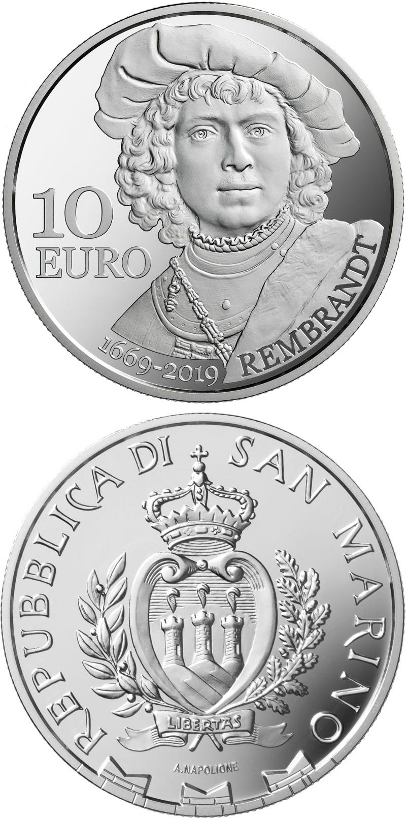 Image of 10 euro coin - 350th anniversary of Rembrandt's death | San Marino 2019.  The Silver coin is of Proof quality.
