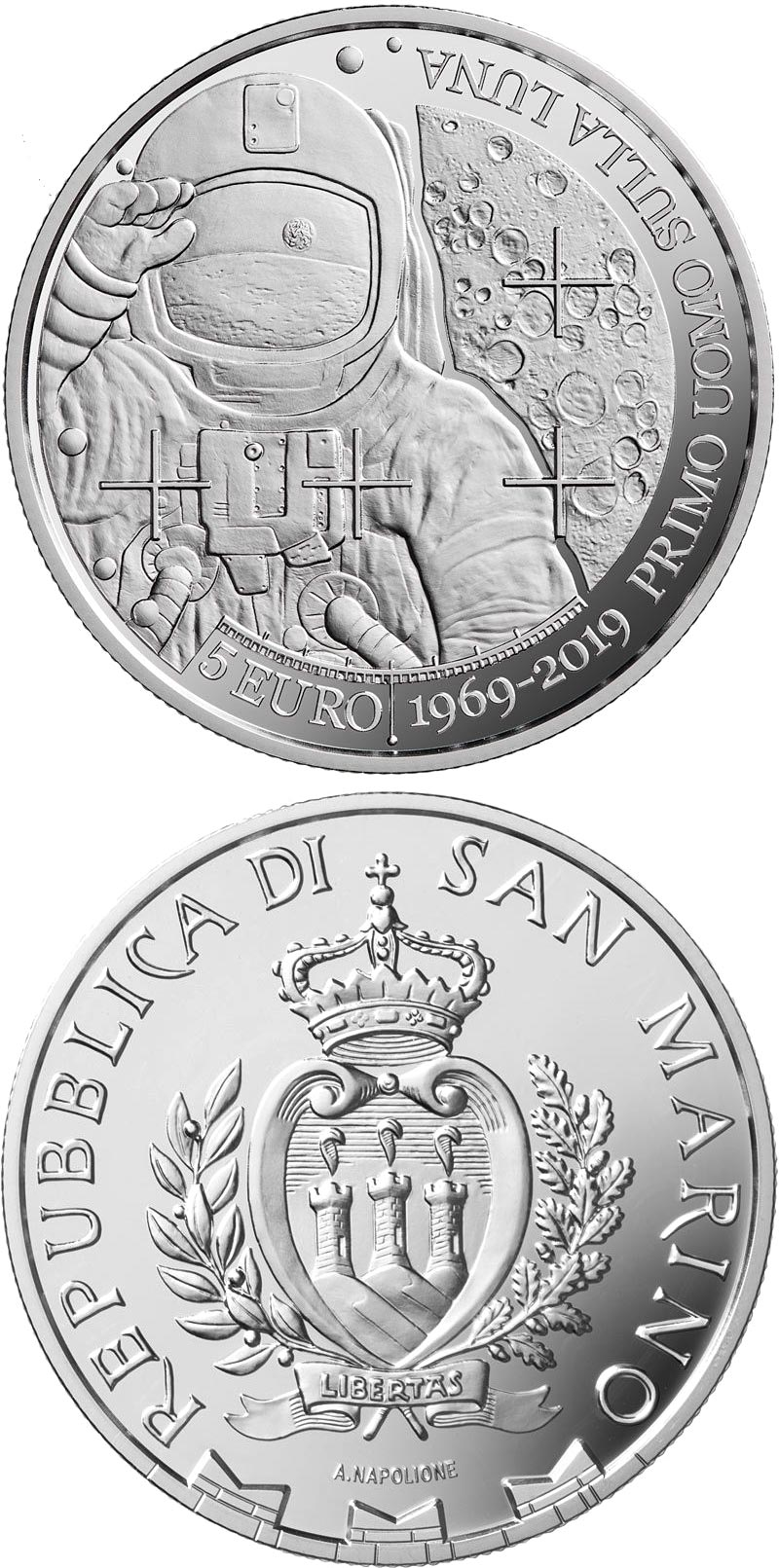 Image of 5 euro coin - 50th anniversary of the first human moon landing | San Marino 2019.  The Silver coin is of Proof quality.